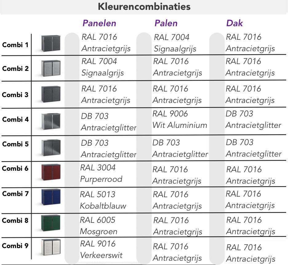 Kleuren ombouw NRW Metaal