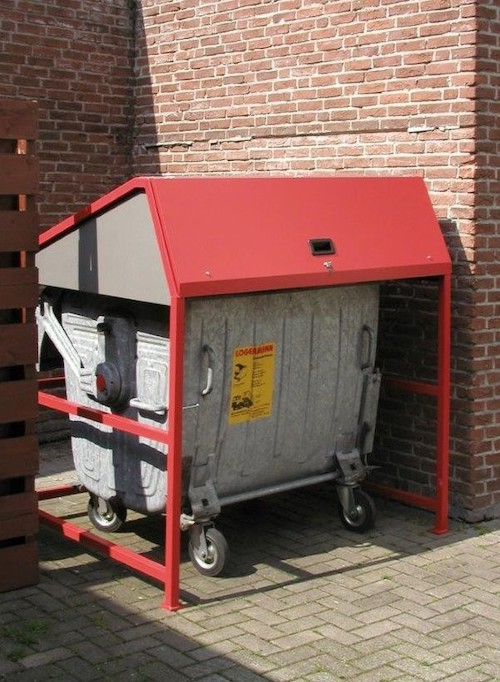 vierwielige rolcontainer overkapping